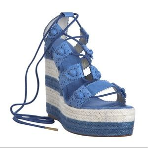 Balenciaga Cloud Leather Lace Up Espadrilles Wedge